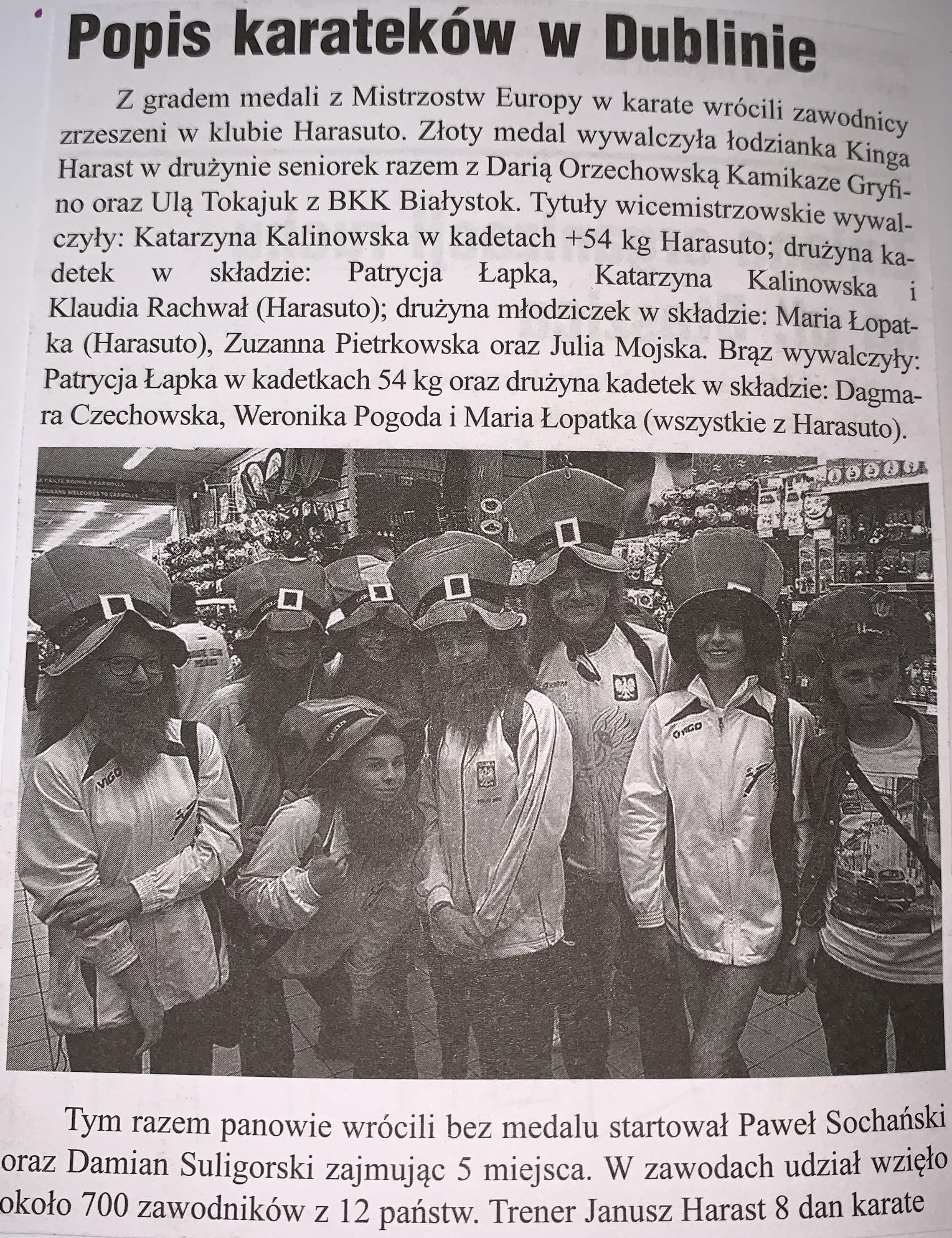 Artukuł w gazecie o klubie Harasuto