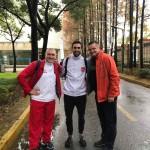 Trener Janusz Harast i Andrzej Zaleski razem z trenerem i medalistą Mistrzostw Świata - Bel Lahsen Rida w Szanghaju