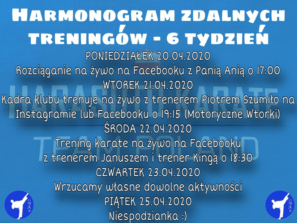 Harmonogram treningów 20-24.04.2020