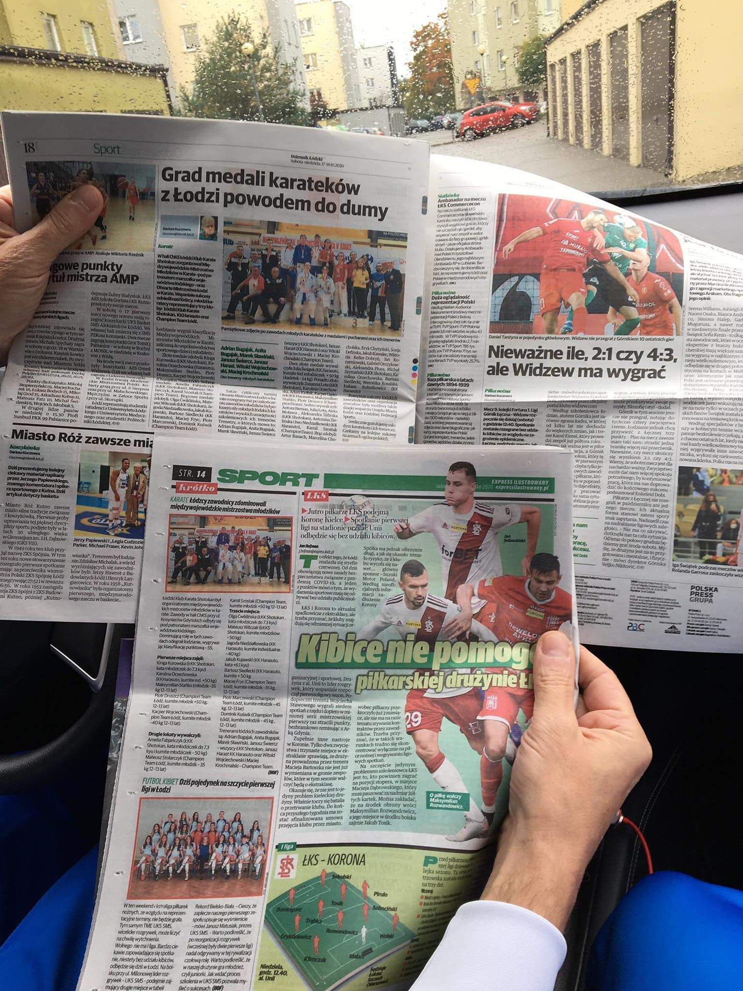 Artykuły w dwóch gazetach o zawodnikach naszego klubu Harasuto
